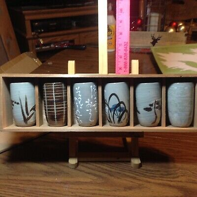 """Vintage set of 6 Japanese Hand Painted Tea Pottery Cups 4"""" in wooden Gift Box"""
