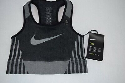 NWT Girls Nike FE/NOM Sculpt Bra AQ9080 010 XS Black White youth sports training