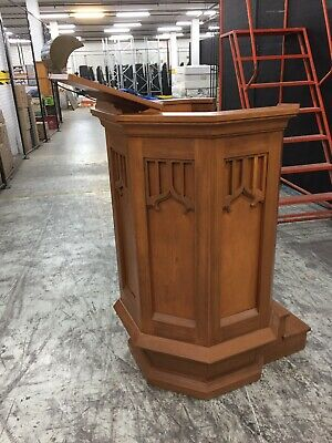 Antique Church Pulpit With Lectern And Copper Reading Lamp