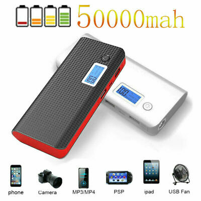 50000mAh Portable Power Bank Dual USB Pack Battery Charger For Mobile Phone