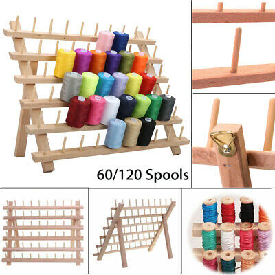 60/120 Spools Wood Sewing Thread Rack Stand Organizer Embroidery Storage Holder