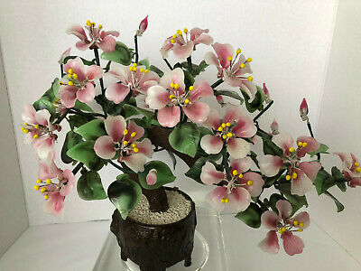 Asian China JADE AGATE glass BONSAI TREE blossoms and leaves