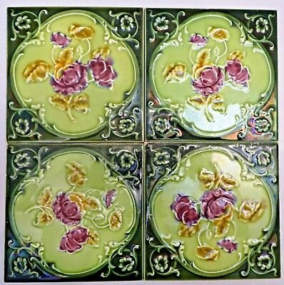 Tile Majolica Vintage England Art Nouveau Porcelain Rose Purple 4 Pieces Set#12