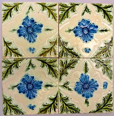 Tile Majolica Vintage England Art Nouveau Porcelain Flower Purple 4 Piece Set#11