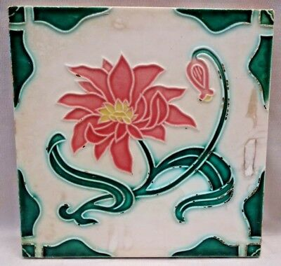 Tile Vintage Japan Dk Ceramic Porcelain Art Nouveau Majolica Flower Design # 355