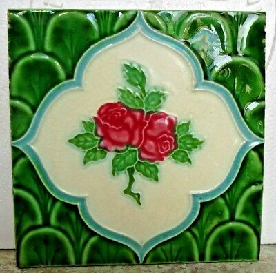 Tile Vintage Ceramic Majolica Japan Rose Green Color Art Nouveau Collectible#270
