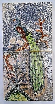 Tile Vintage Peacock On Tree Branch Flower India Gwalior Made Set Of Two # 275