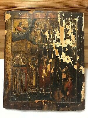 """Antique 18c Russian Orthodox Hand Painted Wood Icon """"Protection Mother of God"""""""