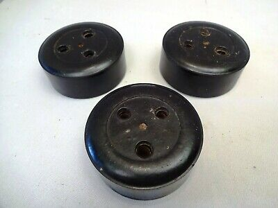 Vintage Electric Plug Socket Bakelite And Ceramic Round 15 Amp Collectibles 3Pc