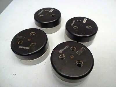 Vintage Electric Switches Socket Bakelite Ceramic Three-Hole Single Plug Vitreou