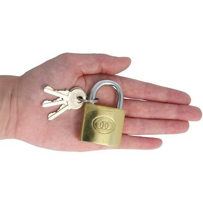 Quality 38mm BRASS PADLOCK 3 Key Toolbox Box Case Bag Shed Gate Door Safety Lock