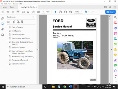 TW-20 TW-30 Tractor Repair Shop Service Manual CD TW20 TW-10 FORD TW10 TW30