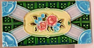 Vintage Tile Japan Strip Rose Flower Design Art Nouveau Architecture Old Genuine