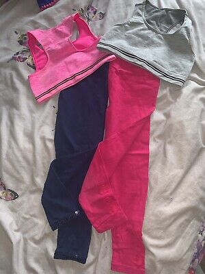 GIRLS CROP TOPS LEGGINGS DANCE GYMNASTICS SETS BUNDLE 6-8 Yr