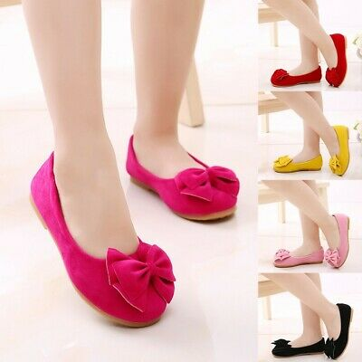 Children Kids Baby Girls Solid Bowknot Student Single Soft Dance Princess Shoes