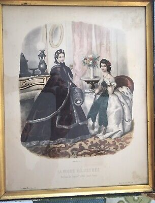 "La Mode Illustree 18"" Gold Gilt Black Edge Frame Victorian Ladies French Fashion"