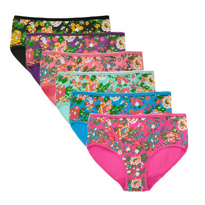 6 Pcs Lot Women's Cotton Underwear Sexy High Cut Flower Briefs Panties Lingerie
