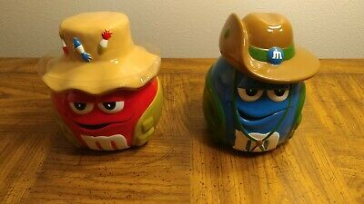 M&M's Red & Blue Ceramic Cookie Candy Jars Lot of 2