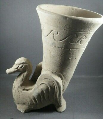 Beautiful Scarce Ancient Roman Terracotta Pottery Drinking Rhyton Circa 50-90 Ad