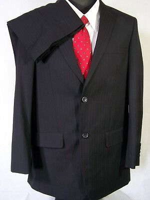 Pronto Uomo Mens Suit Charcoal Gray Striped Wool Size 38R