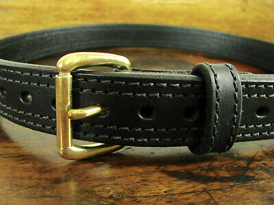 """Mens Thick Dbl Stitched Black Bullhide Gun Belt 1 1/4"""" Wide Fits 32"""" Made in USA"""