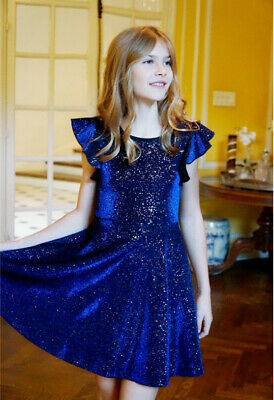 NEW Hannah Banana Blue Sparkly Fit & Flare Girls Party Dress Tween 8 10 14 16