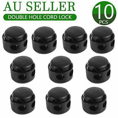 10x Double Hole Cord Lock Apparel Clamp Barrel Toggle Stopper Spring Stop Campin