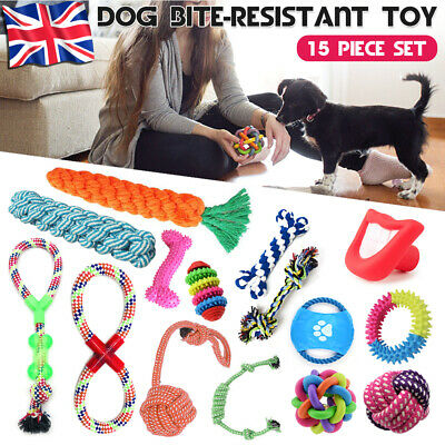 15x Pet Dog Puppy Toys Set Xmas Christmas Gift Teeth Cleaning Cotton Rope Toy UK
