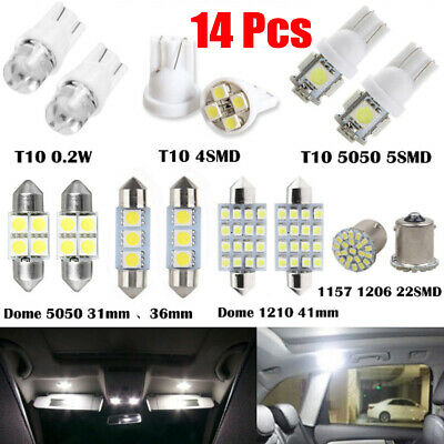 14x White LED Interior Lights Package Kit T10&31mm Map Dome License Plate Bulbs