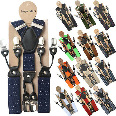 Men's 35mm Wide Suspenders 6 Clips Adjustable Elastic Leather Braces Trousers