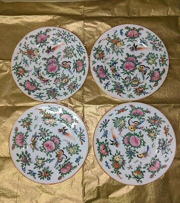 4 Antique Late 19th century Famille Rose Chinese Export Plates Hand Painted