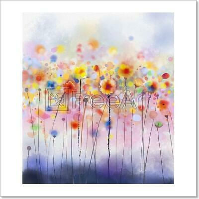 Abstract Floral Watercolor Painting Art Print Home Decor Wall Art Poster - D