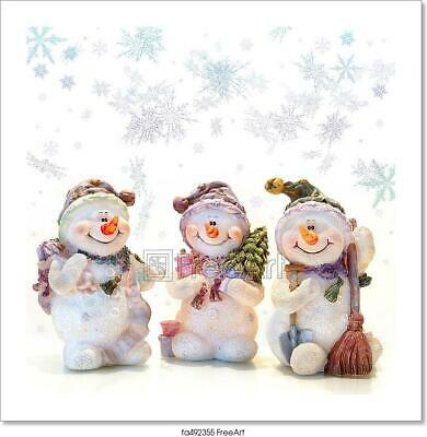 Snowmen And Snowflakes Art Print Home Decor Wall Art Poster - I