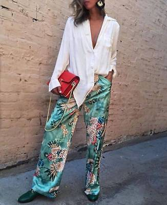 Zara Printed Loose Fit Pajama Bottoms Trousers Green Ref.2411/641 S Bloggers