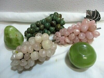 Vtg 5pc Polished Marble Quartz Agate Alabaster Stone Grape Clusters Pear Apple