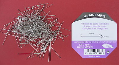 32mm x 0.40mm 200 pins STAINLESS STEEL LACE/BRIDAL/SATIN/WEDDING PINS