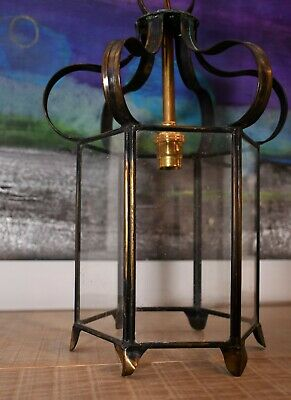 French Mid 20th Century Brass Glass Hall Bedroom Side Table Lamp Lantern