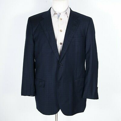 Cremieux by Isaia Loro Piana 160s 15.5 Micron Blue Check Suit 44 L