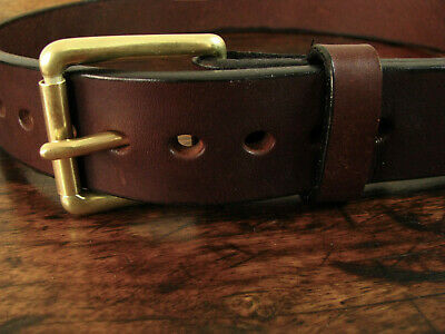 """Mens THICK Dk Brown BULLHIDE Belt Brass Buckle 1.5"""" Wide Fits 30-32"""" Made in USA"""