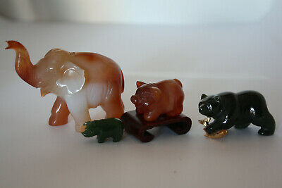 Vintage hand Carved Four miniature Animal