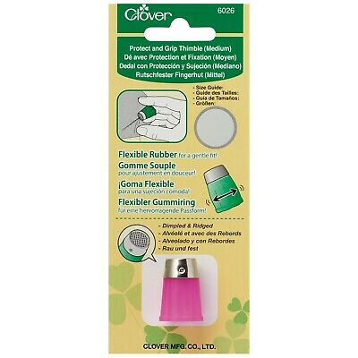 Clover Protect And Grip Thimble – Medium In Pink - Flexible Rubber Sides- Cl6026