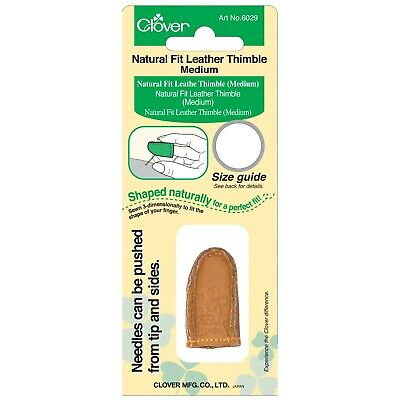Clover Natural Fit Leather Thimble – Medium – Curves With Your Finger Tip Cl6029