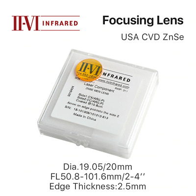 "II-VI ZnSe Laser Focus Lens DIa. 19.05mm 20mm FL 50.8-101.6mm 2-4"" for CO2 Laser"