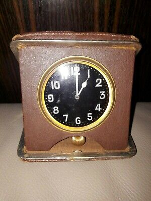 c1910 - 1915 Goliath Travel Antique Clock - Nice cond. Working - RARE Black Dial