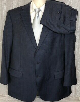 Current Hart Schaffner Marx Mens Navy Striped 2pc Suit 48R 39x25.5 (t4)