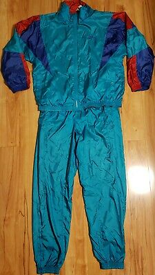 Vintage Nike TrackSuit Jacket/Pants Windbreaker gray tag hip hop color block set