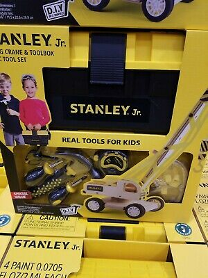 Stanley Jr. Lifting Crane & Toolbox + 6 Piece Tool Set ~ Real Tools for Kids!