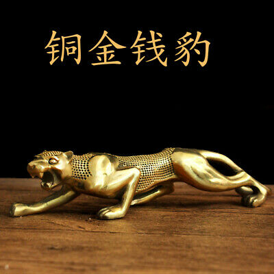 Collectible Handmade Carving Statue leopard panther Copper Brass Deco Art