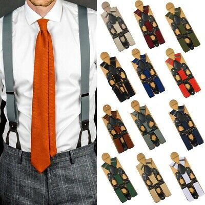 Men's 6 Button Hole Wide Elastic Suspenders Leather 35mm Trousers Braces Belt