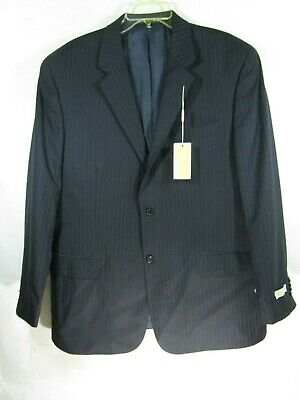 ***Men's Michael Kors Size 46L Blazer Suit Jacket Two Button Pin Stripe Navy